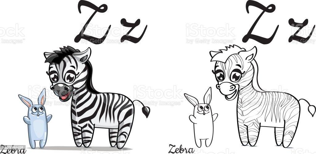 Ilustración De Cebra Letra Del Alfabeto Vector Z Página Para