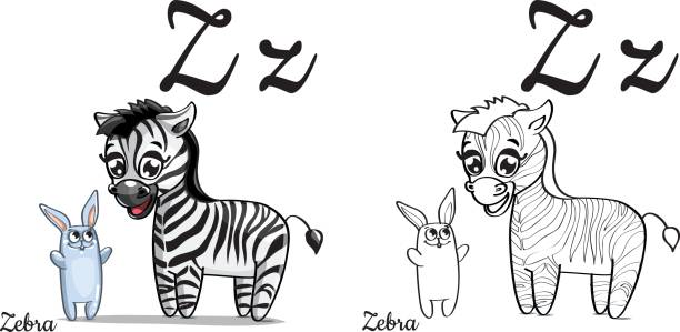 Zebra Vector Alphabet Letter Z Coloring Page Art Illustration