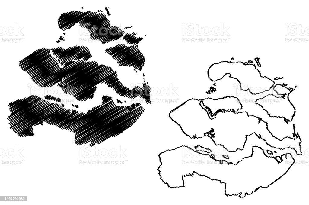 Zeeland Holland Karte.Zeeland Provinz Karte Vektorillustration Kritzeleien Skizze