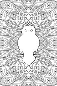 Zen art with white owl on beautiful background