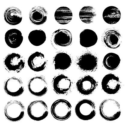 Zen circles grunge brush strokes rounds