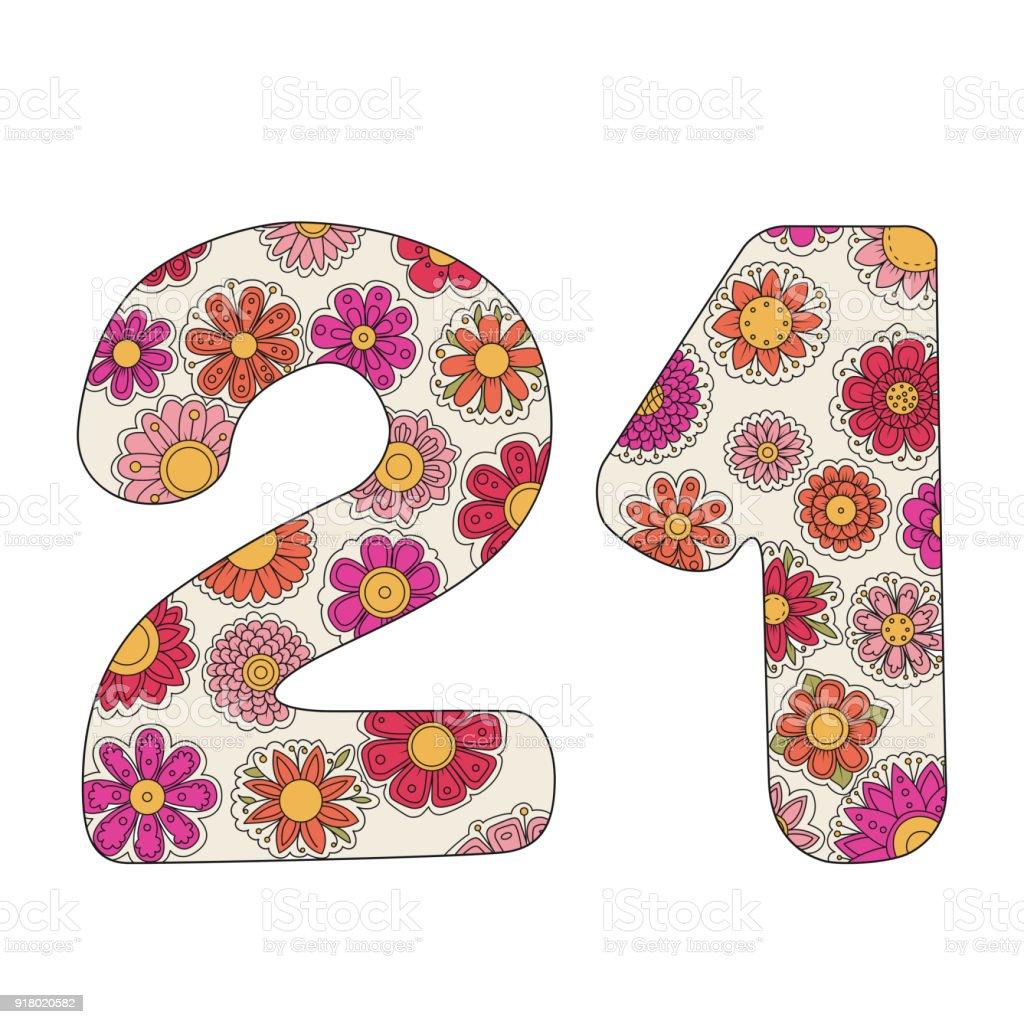 Zen Boyama Kitabı Için Yetişkin Sayı 21 Stok Vektör Sanatı 1