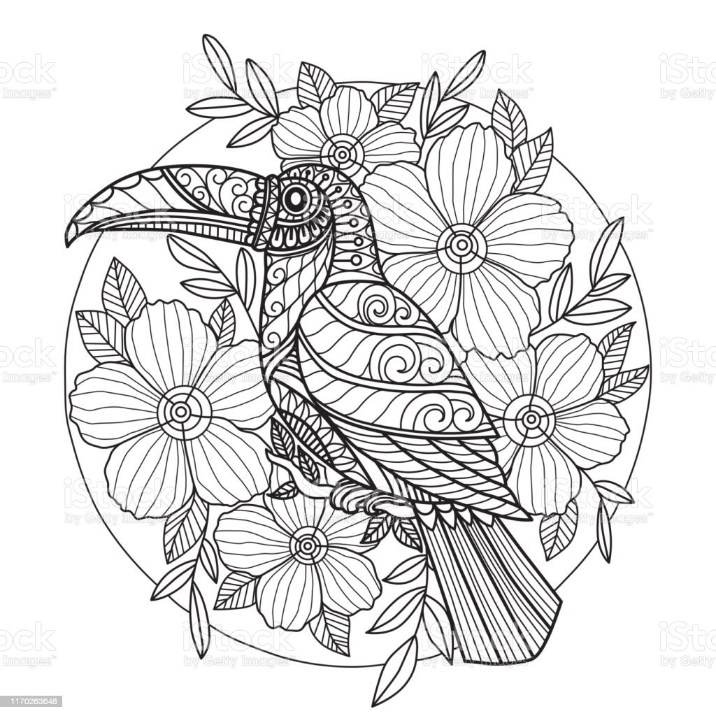 zen doodle bird and flowers tangles adult coloring page
