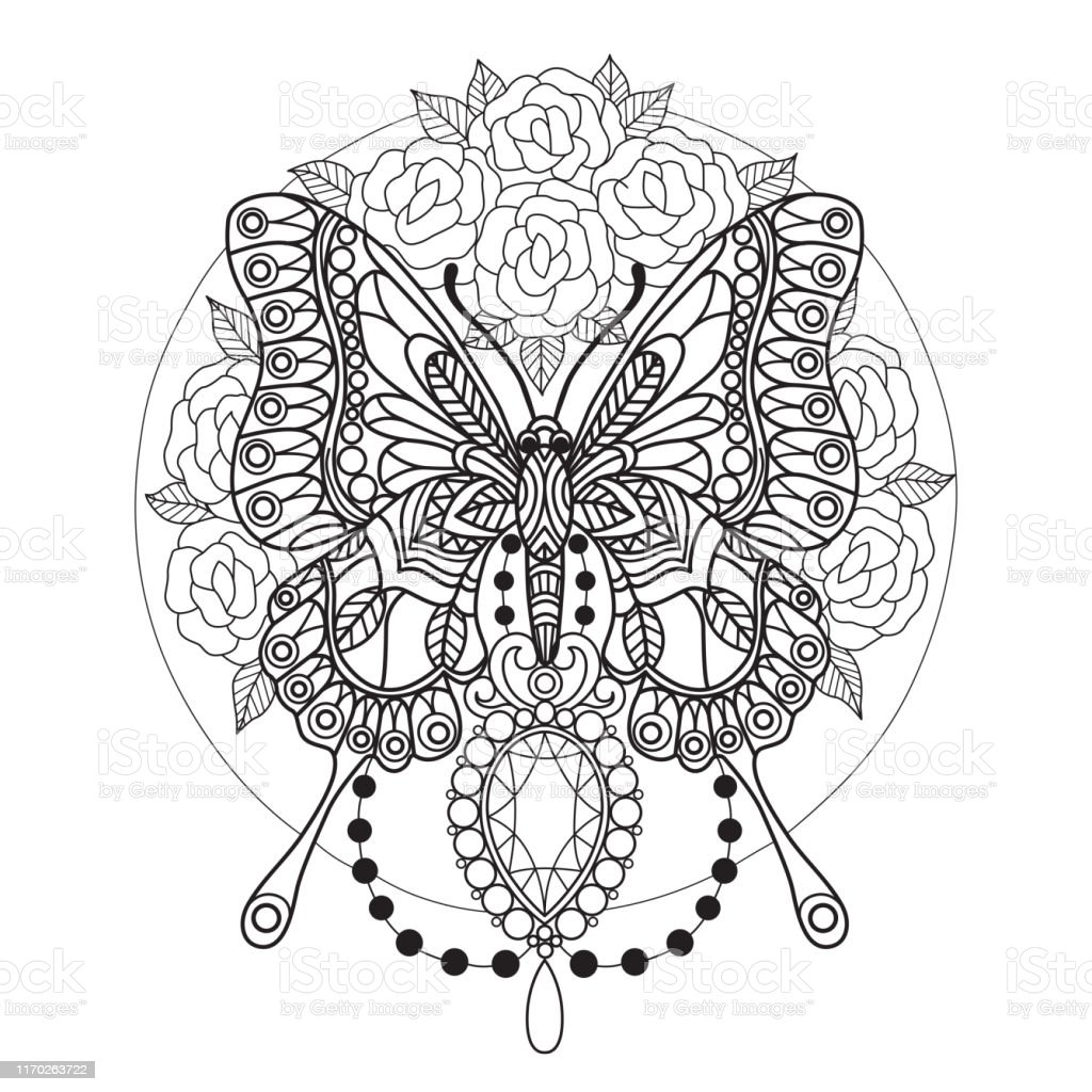 zen doodle butterfly and roses tangles coloring page