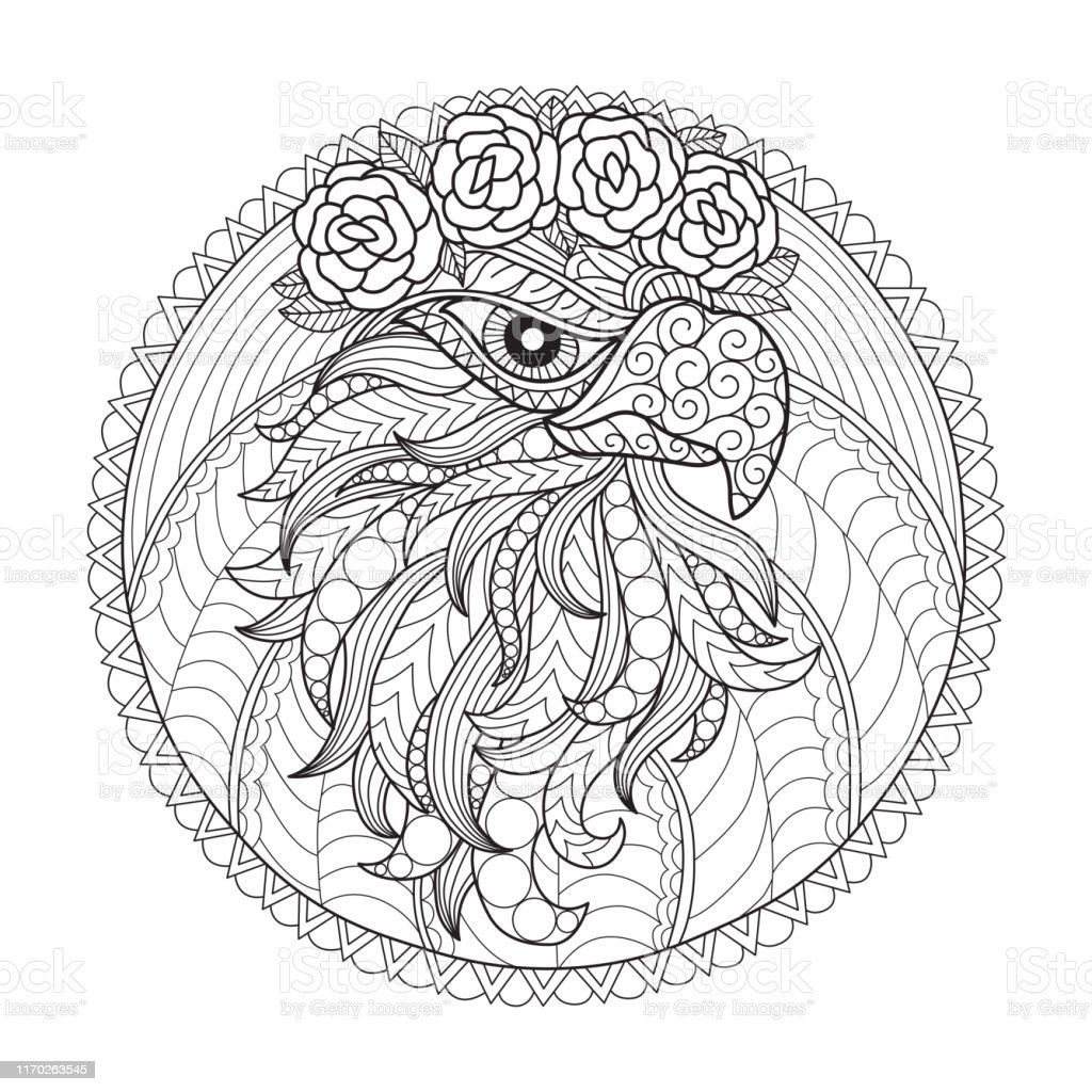 zen doodle eagle and flowers tangles adult coloring page