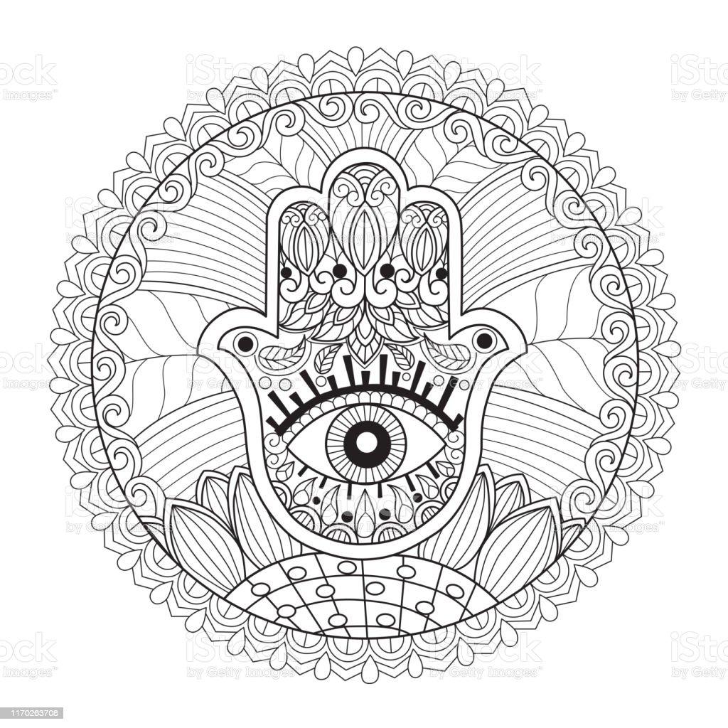 Zen Doodle Hand Of Fatima With Third Eye Tangles Adult
