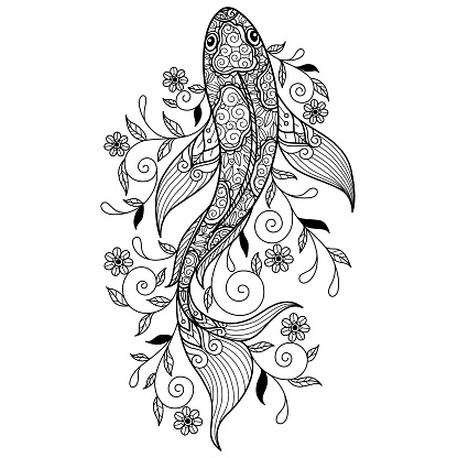 Zen doodle Koi fish tangles adult coloring page, Illustration  style.