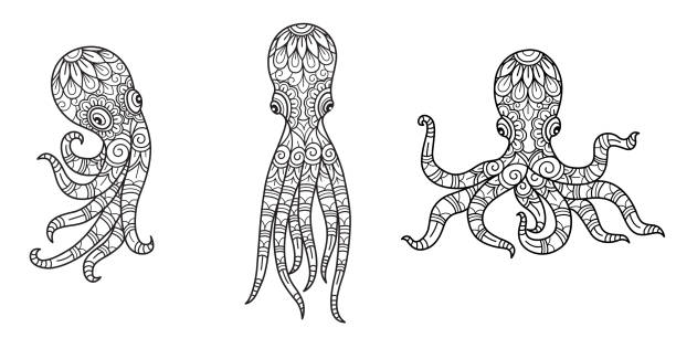 449 Octopus Coloring Pages Illustrations Clip Art Istock