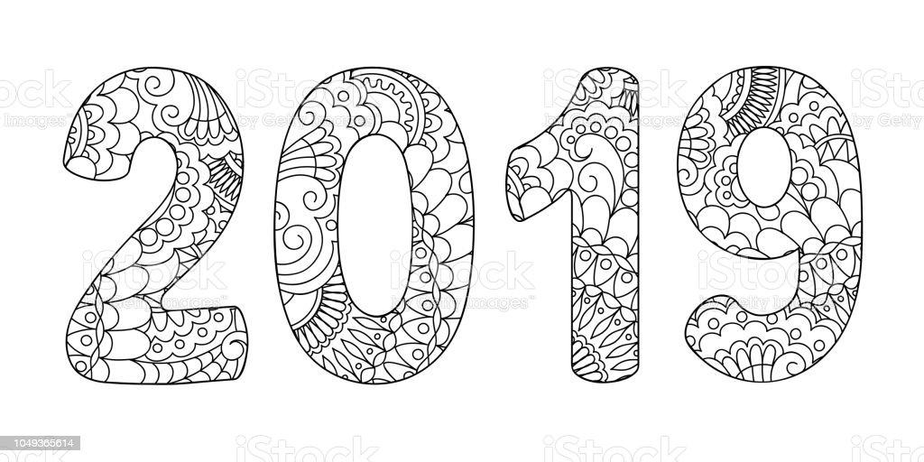 Ilustración De Doodle De Zen Con Dibujos Medio Número 2019 Y