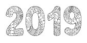zen doodle patterned number 2019 middle