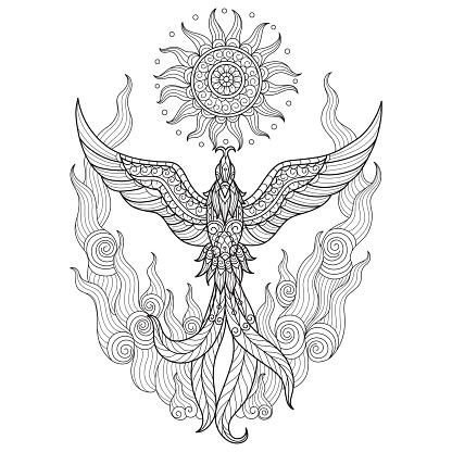 Zen doodle Phoenix tangles adult coloring page, Illustration zentangle style.