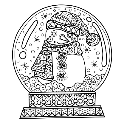 Zen doodle Snowman inside Snow globe tangles adult coloring page, Illustration zentangle style.