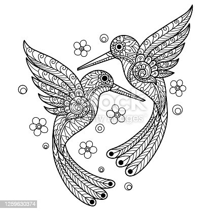 istock Zen doodle Two Hummingbird tangles adult coloring page, Illustration zentangle style. 1259630374
