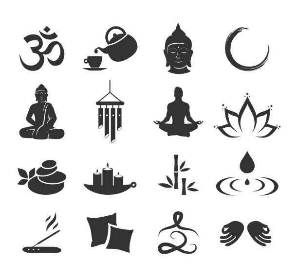 zen-icon-set-vektor - meditation icon stock-grafiken, -clipart, -cartoons und -symbole