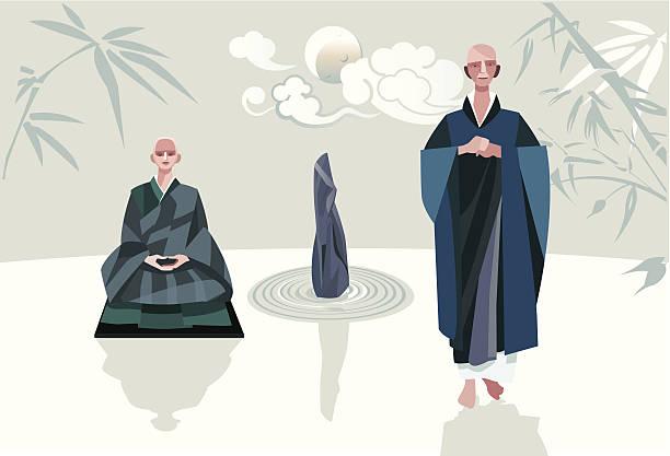 ilustraciones, imágenes clip art, dibujos animados e iconos de stock de zen maestros y disciple vertical y horizontal - hermano