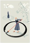 Zen monk in a garden drawing a large circle (enso) on the floor with a big brush. In the garden there is a stone and  few concentric circles of sand and bamboo plant. In the sky is the moon.