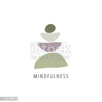 Zen stones flat vector illustration. Creative geometric shape pebble pyramid isolated on white background. Spa rocks color drawing. Stylish print, t shirt design element. Balance, mindfulness and harmony concept