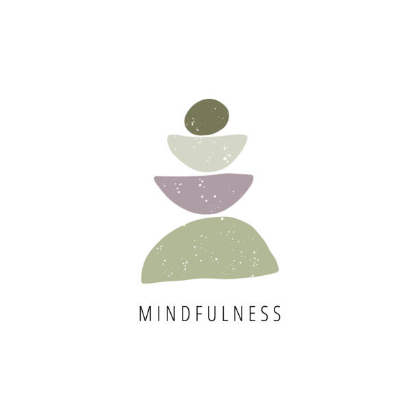 zen stones flat vector illustration. balance, mindfulness and harmony concept - mindfulness stock illustrations