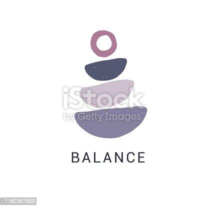 istock Zen stones flat vector illustration. Stylish print, t shirt design element. Balance and harmony concept 1182357503