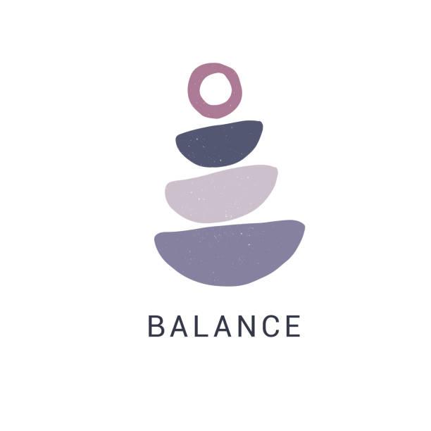 zen stones flat vector illustration. stylish print, t shirt design element. balance and harmony concept - skała stock illustrations