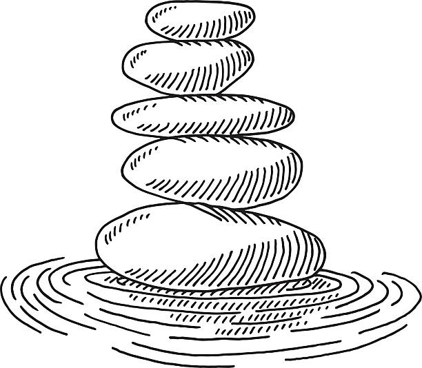 zen stones water ripples drawing - rock formations stock illustrations