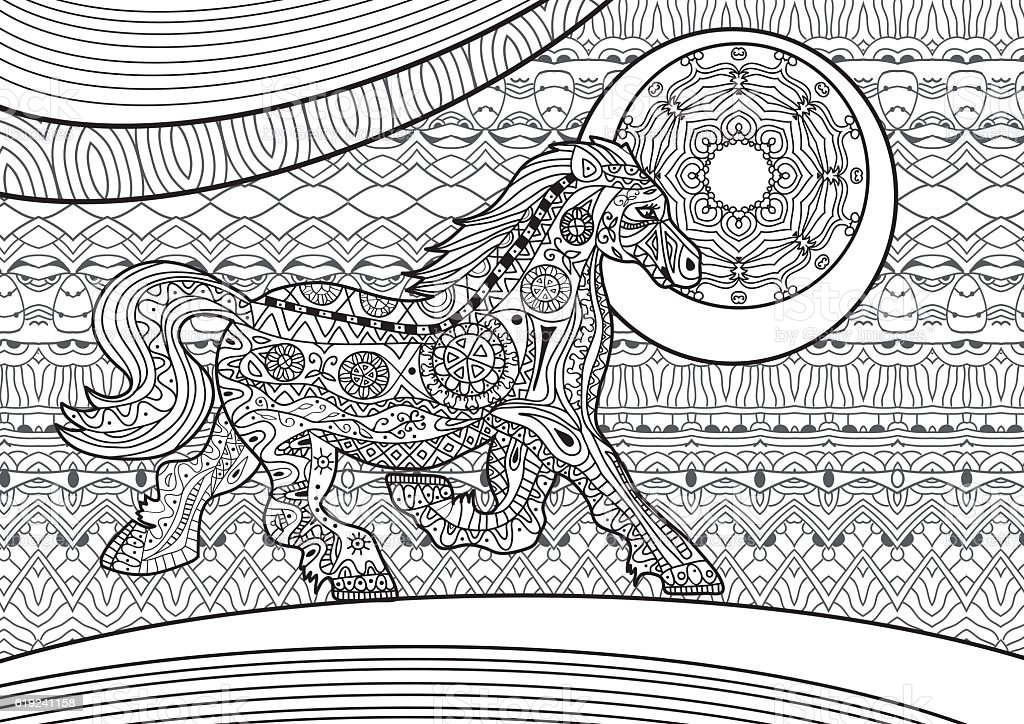 Running Horse On The Pattern Background Coloring Book Royalty Free Zenart