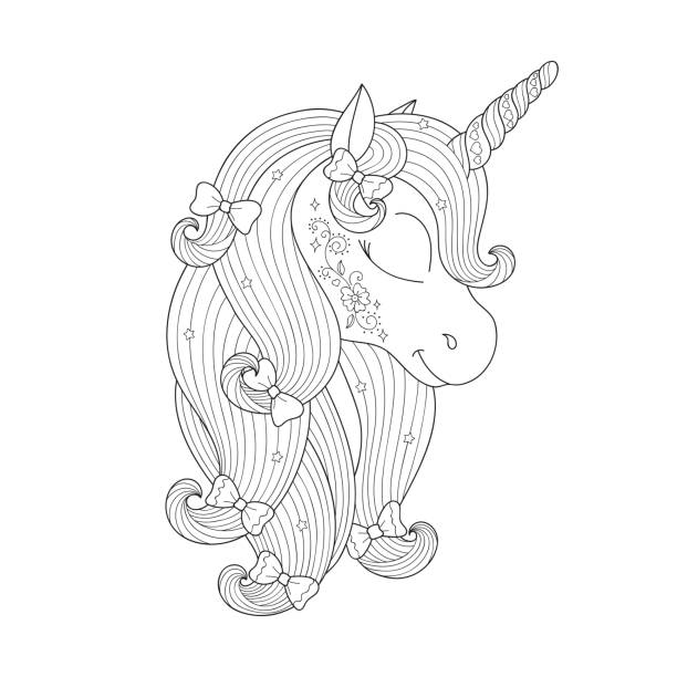 zendoodle unicorn drawing. design for kids. fashion illustration drawing in modern style for clothes. girlish print. - unicorn line drawings stock illustrations, clip art, cartoons, & icons