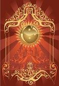 Mysterious solar round in zenith - vector artwork