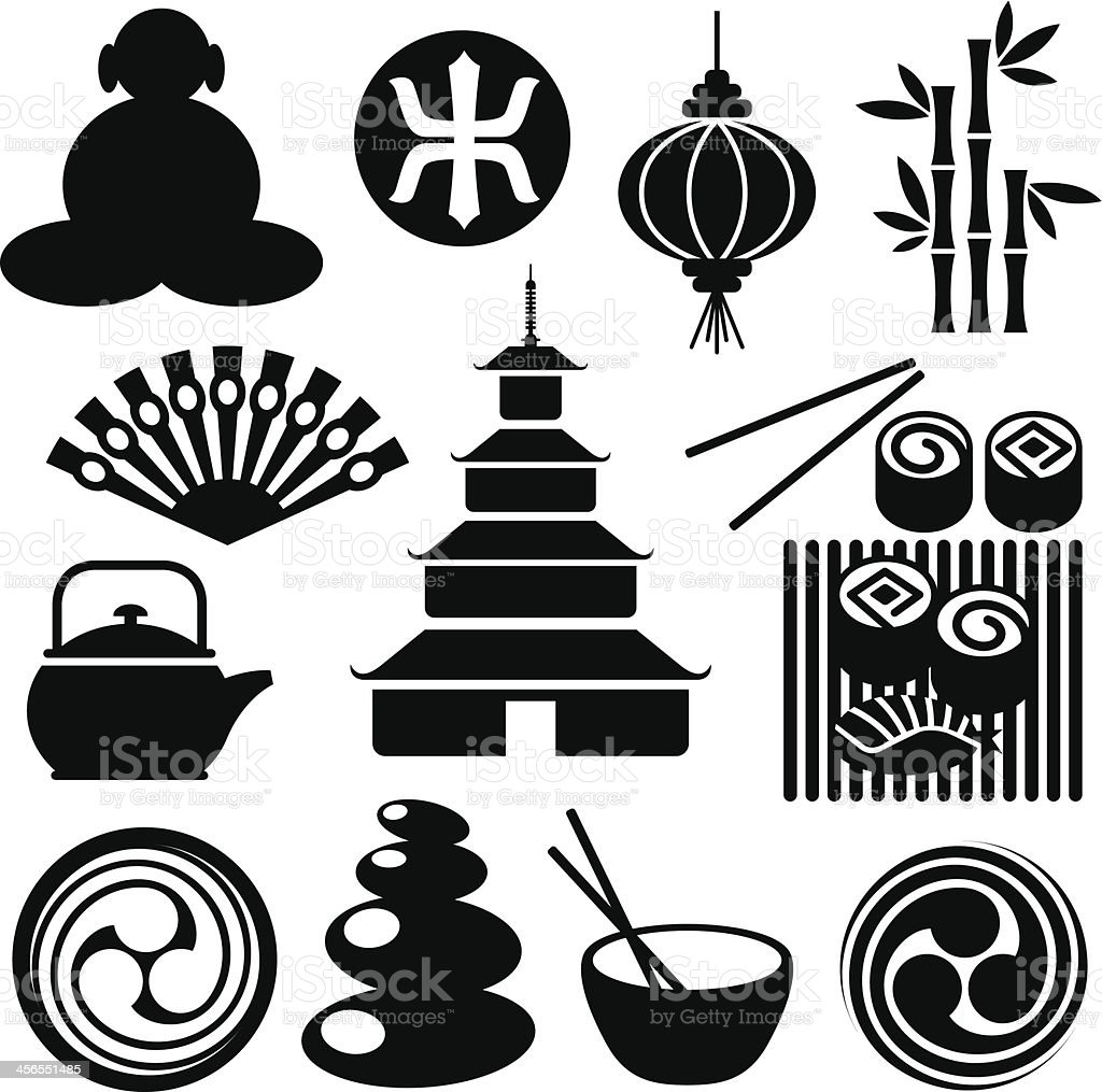Zen-Like Icons vector art illustration