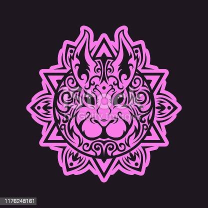 istock Zen-like rabbit head with Mandala tracery pattern 1176248161