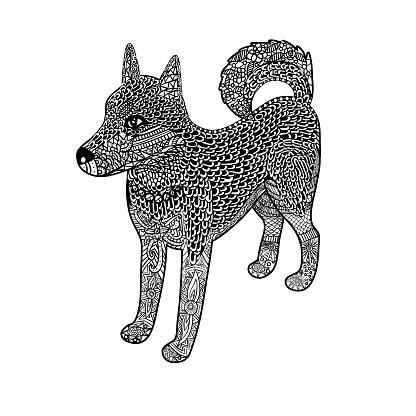 Zentangle husky dog, isometric, isolated