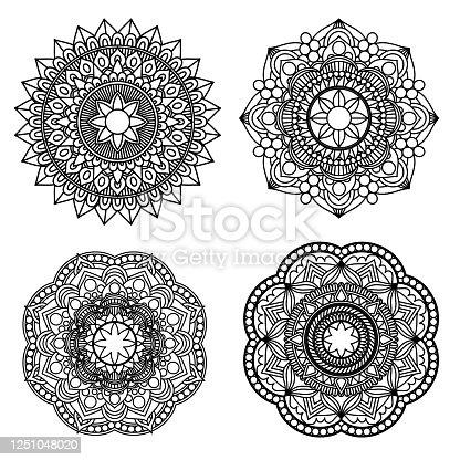 istock Zentangle mandala for adult coloring book 4 style. 1251048020
