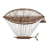 Zeppelin Hand Draw Sketch. Vector