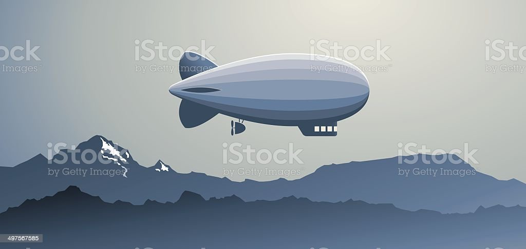 Zeppelin over the Mountains vector art illustration