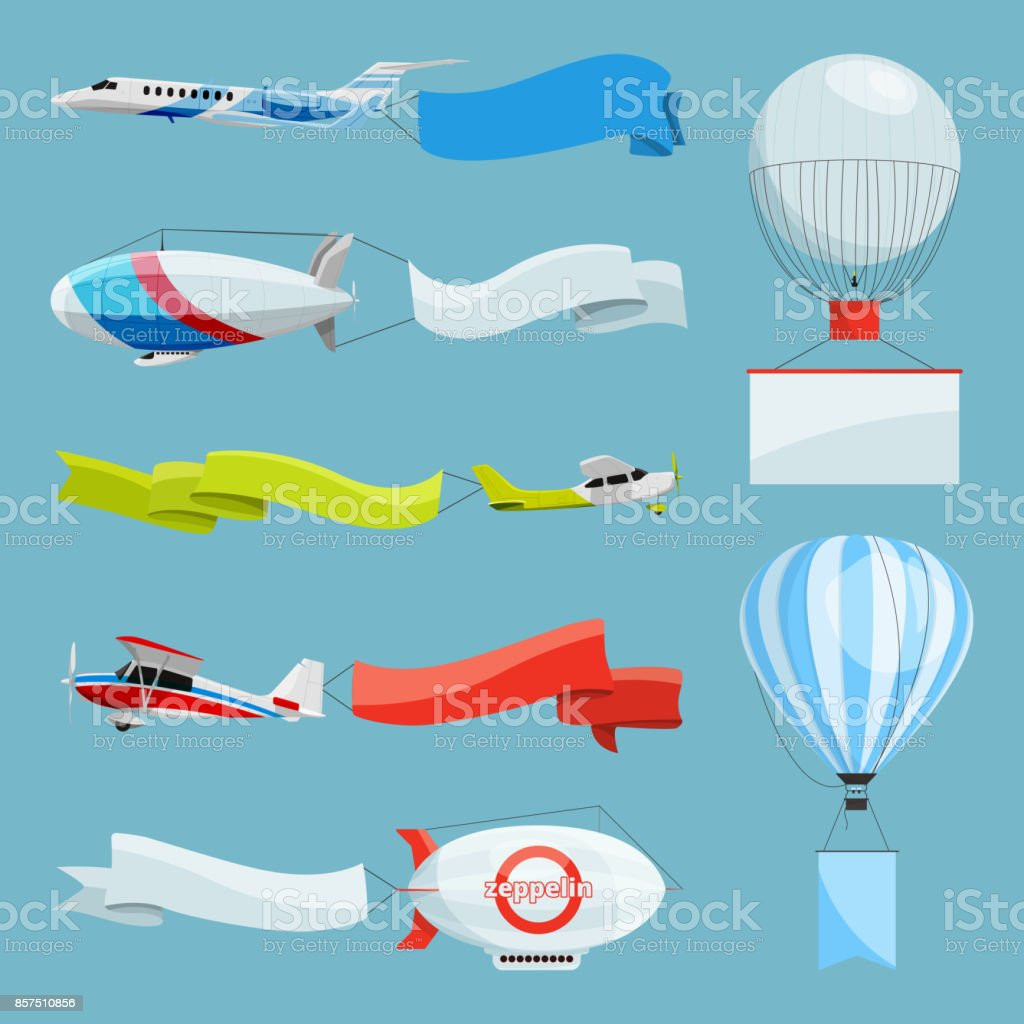 Zeppelins and airplanes with empty banners for advertising messages. Vector illustrations with place for your text vector art illustration
