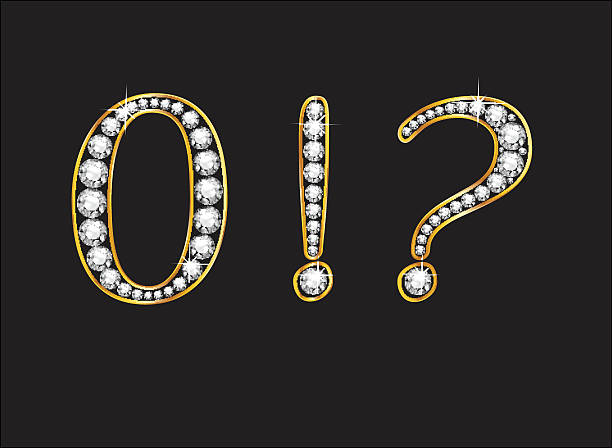 Zero and Punctuaction Diamond Jeweled Font with Gold Channels vector art illustration