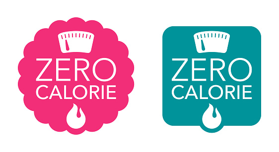 Zero calorie badge for diet food labeling - 0 kcal, energy fire, weight scales