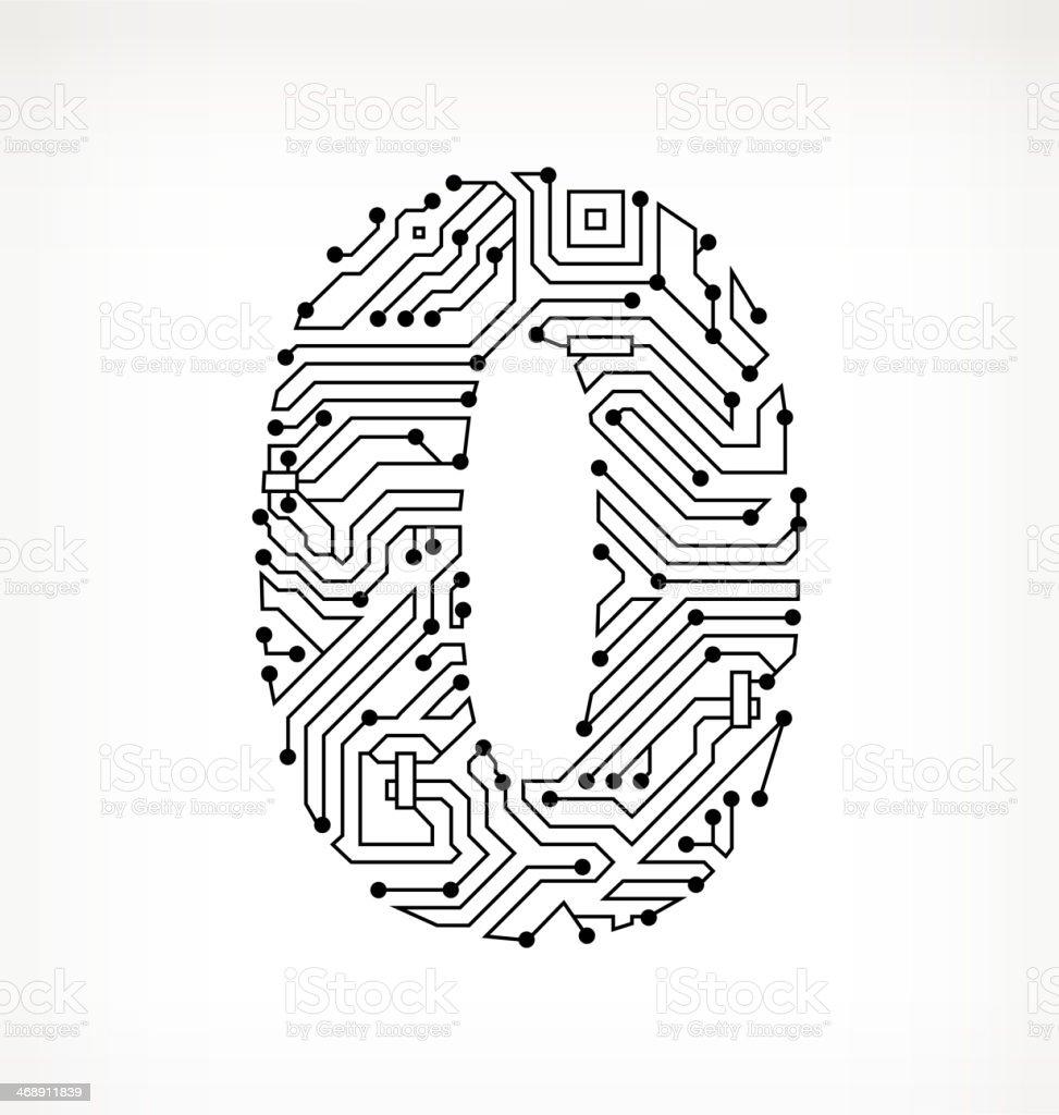 Zero Circuit Board on White Background vector art illustration