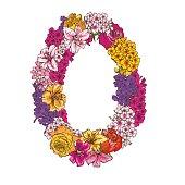 Nul cijfers gemaakt van verschillende bloemen. Floral element van kleurrijke alfabet gemaakt van bloemen.  illustratie