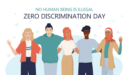 Zero discrimination day web or ad banner. Equal rights