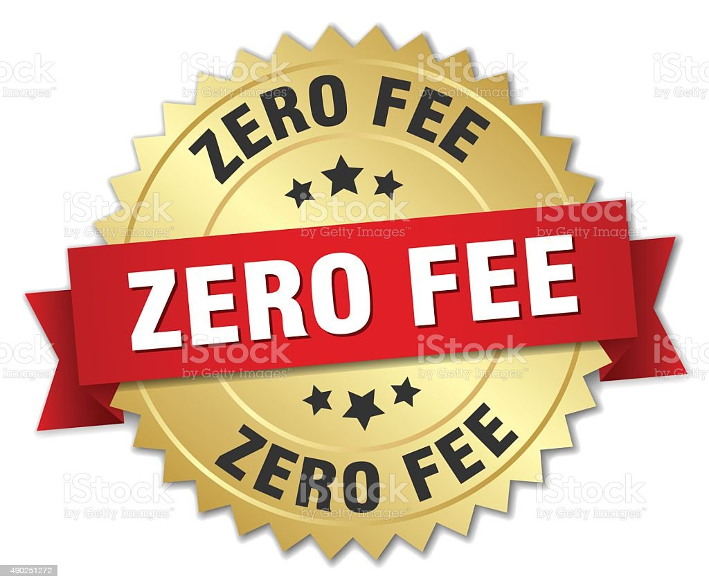zero fee 3d gold badge with red ribbon vector art illustration