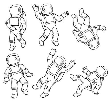 Zero Gravity Astronaut Doodles Character Set