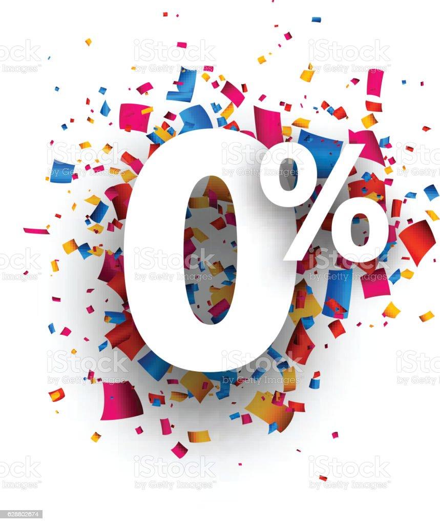 Zero percent 0% sign. vector art illustration