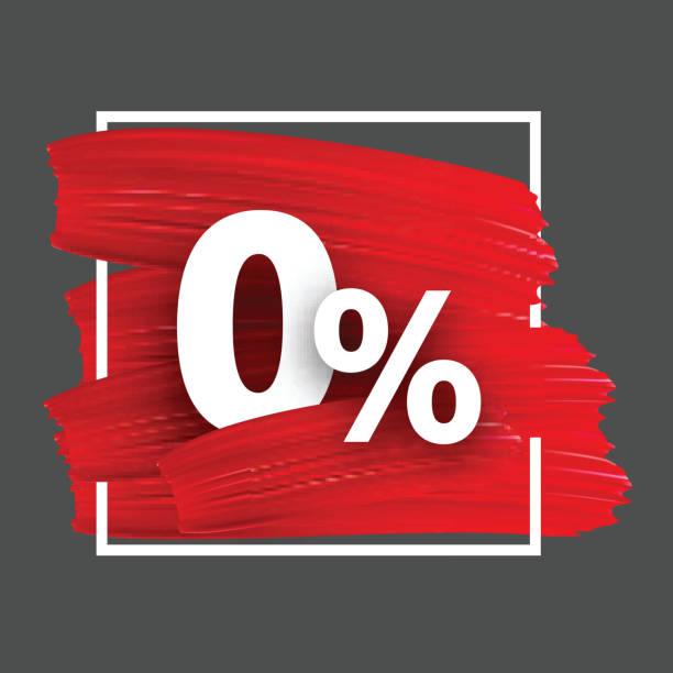 Zero percent background with brush strokes. Grey 0% background with red watercolor brush strokes. Vector illustration. zero stock illustrations