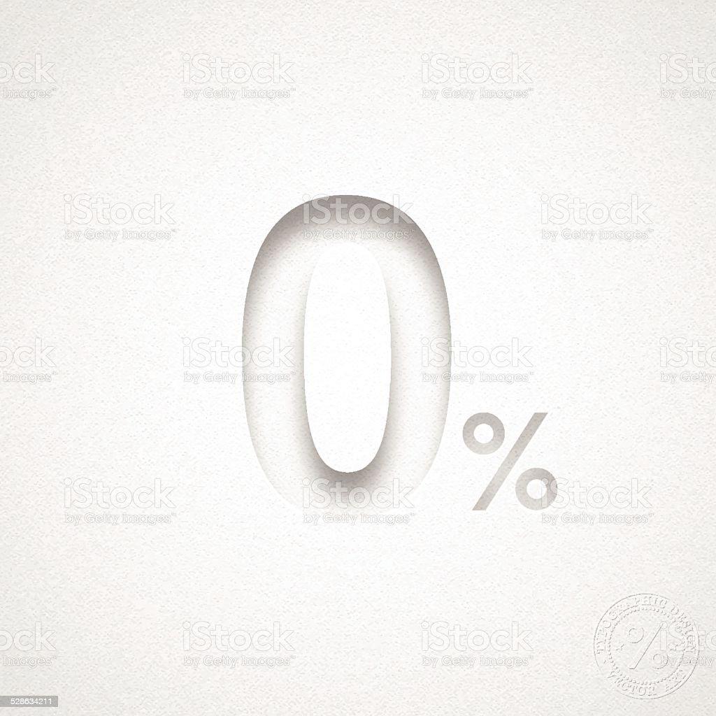 Zero Percent Design (0%) - Blue number on Watercolor Paper vector art illustration