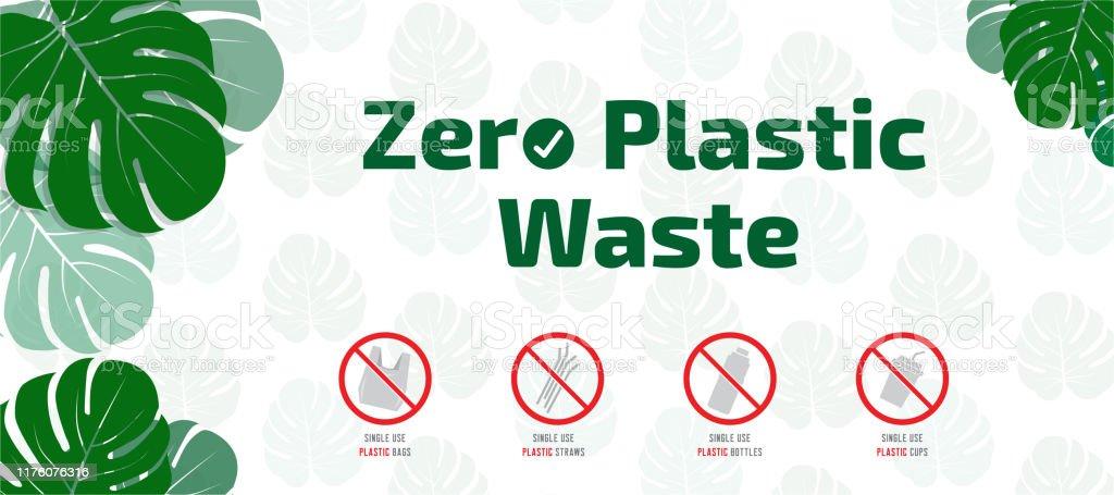 Ilustración de Cero Residuos Plásticos Deje De Usar Bolsas De Plástico De  Un Solo Uso Botellas Tazas Bandejas Y Pajitas y más Vectores Libres de  Derechos de Basura - iStock