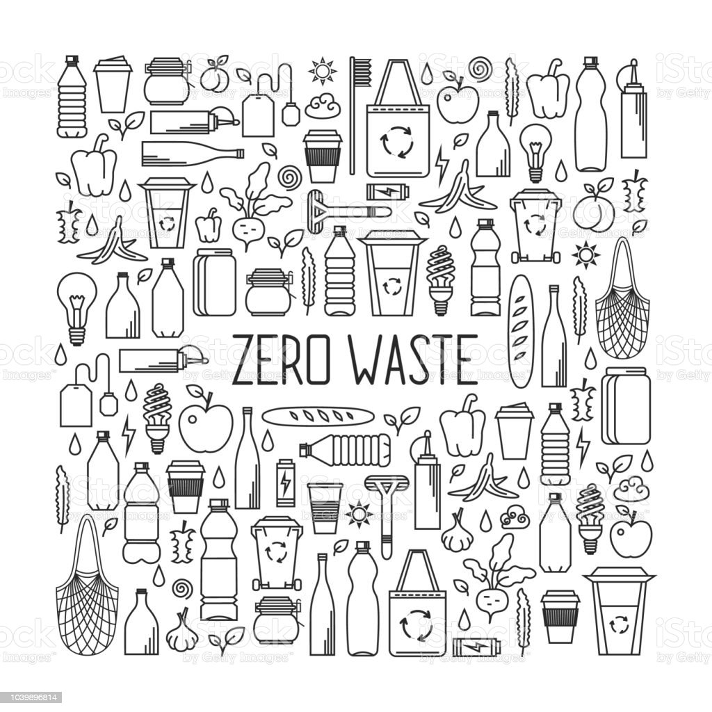 Zero waste concept. Line art collection of eco and waste elements royalty-free zero waste concept line art collection of eco and waste elements stock illustration - download image now