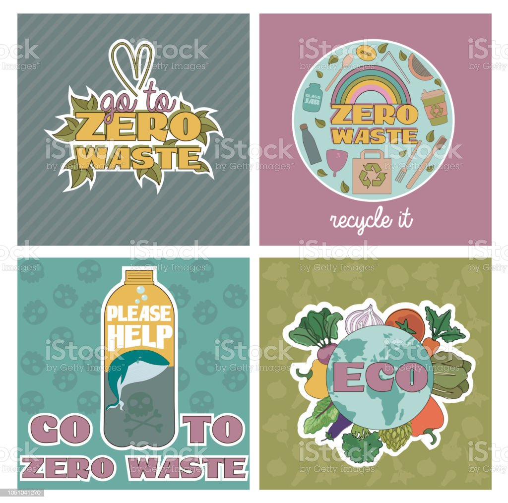 Zero waste concept, recycle and reuse, reduce, ecological lifestyle, motivation posters set vector art illustration