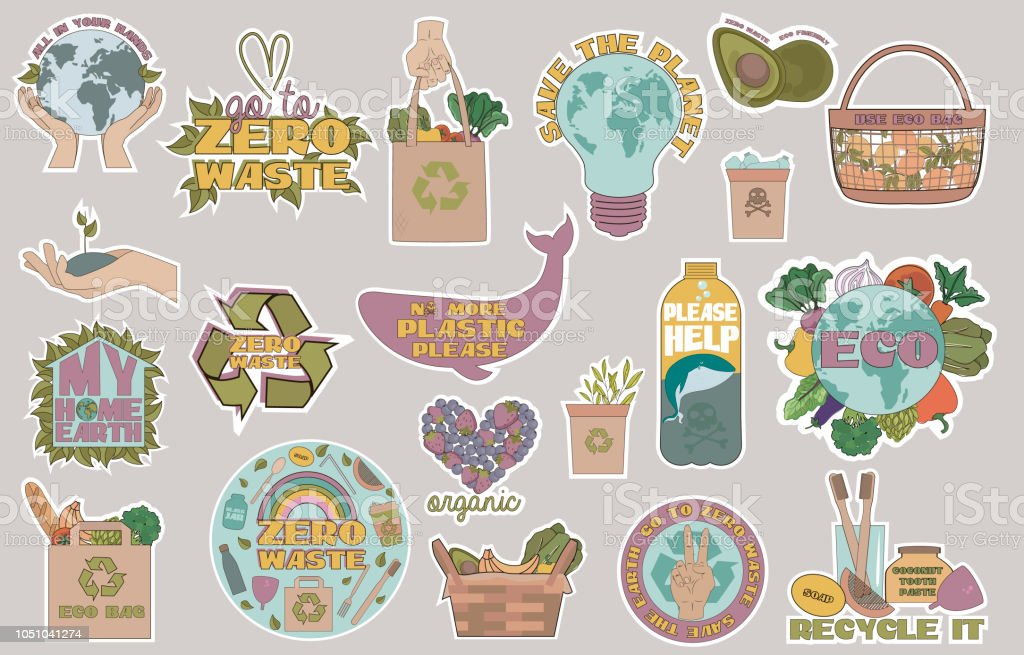 Zero waste concept, recycle and reuse, reduce, ecological lifestyle icons vector art illustration