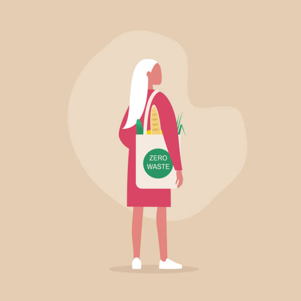 illustrazioni stock, clip art, cartoni animati e icone di tendenza di zero waste concept, young female millennial character carrying groceries in a reusable eco friendly shopper bag - grocery home